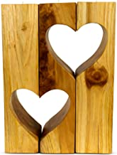 """G6 COLLECTION 12"""" Solid Wood Hand Carved Heart Shape Tealight Candle Holder Handmade Handcrafted Wooden Love Centerpiece (..."""