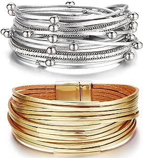 2pcs Womens Leopard Leather Cuff Bracelet Multi Strands Wrap Bracelets Rhinestone Strand Bangle Jewelry Birthday Gift for Women Teen Girls Prime