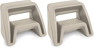 Simplay3 Handy Home 2-Step Plastic Stool (2 Pack), 16 inch Top Step (Tan)