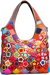 Heshe Women's Hobo Shoulder Bags Cross Body Tote Handbags Purses with Flower Summer Style (Colorful-2B4021)