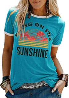 Womens Bring On The Sunshine T-Shirt Graphic Tees Letter Printed Loose Casual Summer Funny Tops