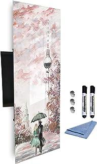 GlassArtist 513827977 Armoire à clés avec façade en Verre magnétique 80 x 30 cm