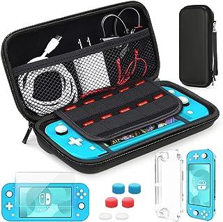 Estuche de transporte compatible con Nintendo Switch Lite, HEYSTOP estuche Switch Lite + protector de pantalla + tarjeta de juegos + 6 tapas de agarre para el pulgar