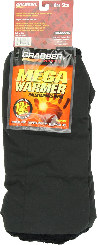 Grabber Cozy Hand Muff, Soft Velboa Fleece with shoulder Strap and Inner Warming Pocket, Black
