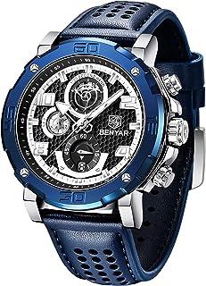Montre Homme BENYAR Montre-Bracelet chronographe pour Homme avec Bracelet en Cuir Mouvement à Quartz avec Calendrier de Da...