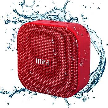 MIFA A1 レッド Bluetoothスピーカー IP56防塵防水/コンパクト/おしゃれな見た目/TWS機能でステレオサウンド/12時間連続再生/ハンズフリー通話/Micro SDカード対応(赤)