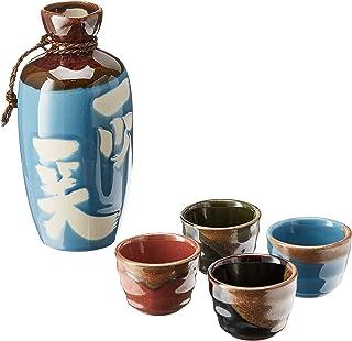 """Kotobuki Issho Japanese Calligraphy Sake Set,""""Laugh to Stay Young"""", Turquoise"""