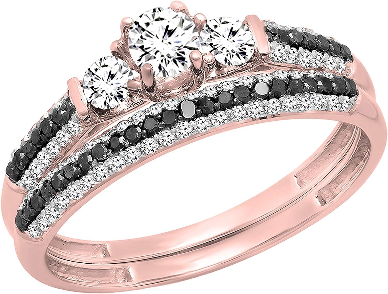 Dazzlingrock Collection Round White Sapphire, Black & White Diamond 3 Stone Bridal Engagement Ring Set, Available in Metal 10K/14K/18K Gold