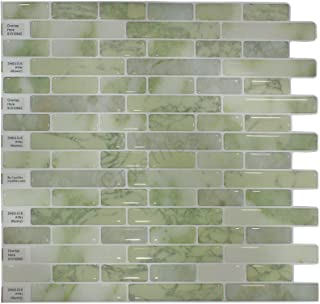 """Crystiles Peel and Stick Self-Adhesive DIY Backsplash Stick-on Vinyl Wall Tiles for Kitchen and Bathroom Décor Projects, Item# 91010842, 10"""" X 10"""" Each, 6 Sheets Pack"""