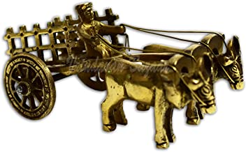 VRINDAVANBAZAAR.COM Brass Bull Cart with Open jaali Pulled by Double Bull/showpiece/Great Gifts Item Size (L X B X H - 12 ...