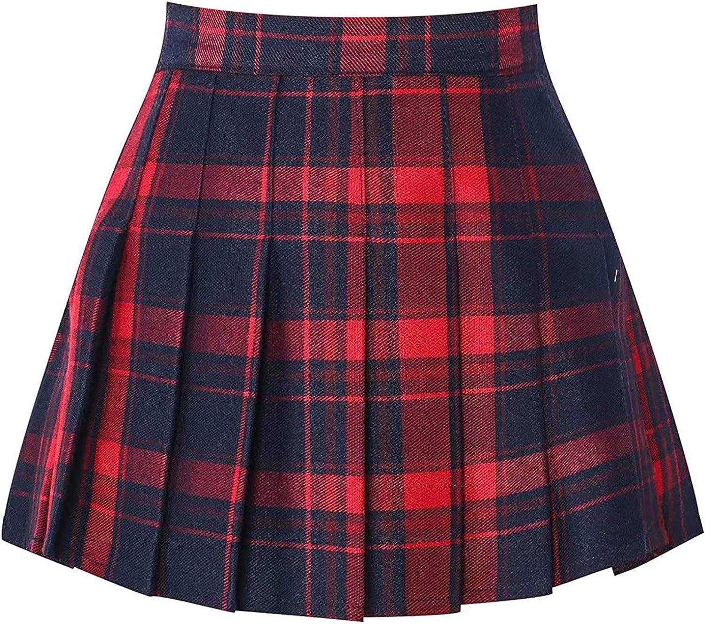 DXYDSC Women's Fashion High Waist Pleated Mini Skirt Slim Waist Casual Tennis Skirt