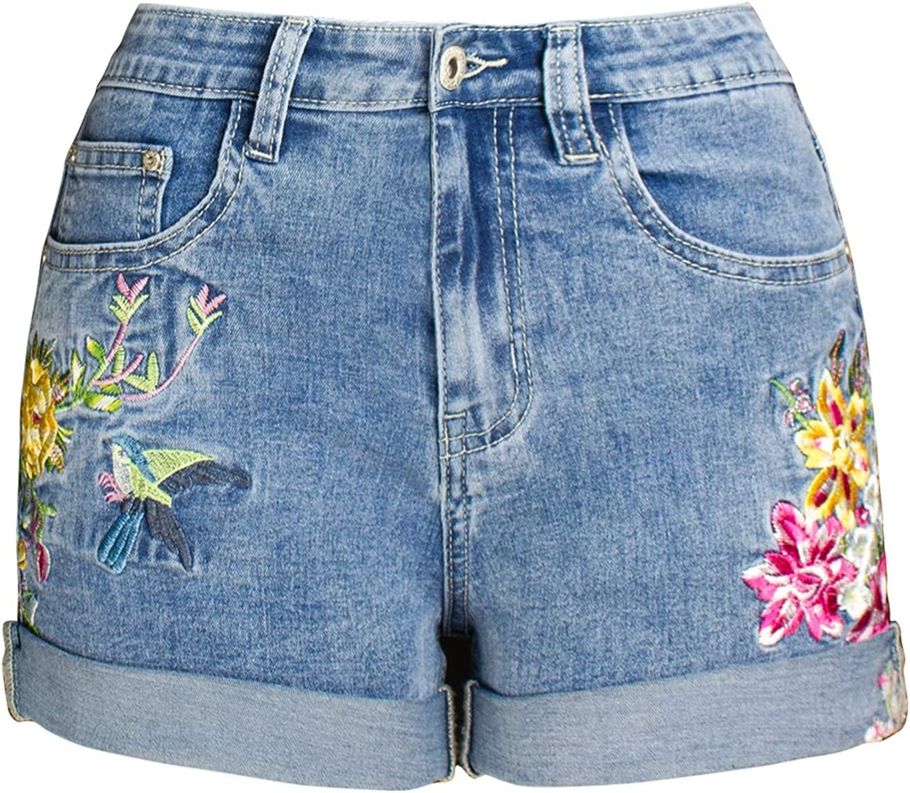 SBCDY Women's Destroyed Ripped Hole Denim Shorts Sexy Short Jeans Summer High Waist Denim Shorts Embroidered Flowers Plus Size Denim Shorts (Color : Blue, Size : 42)