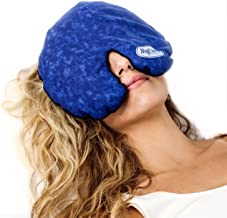 MyCare Face Mask (with Washable Cover) Hot Cold Compress Therapy, Natural Reusable Relief for Migraine, Tension, Stress, Sinus, Headache and Relaxation (Blue)