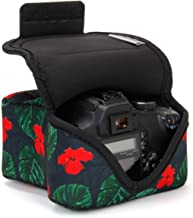 USA GEAR DSLR Camera Sleeve Case (Tropical) with Neoprene Protection, Holster Belt Loop and Accessory Storage - Compatible with Nikon D3400, Canon EOS Rebel SL2, Pentax K-70 and More