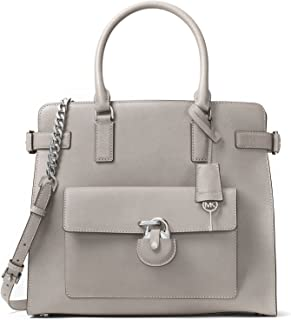 MICHAEL MICHAEL KORS Emma Large Saffiano Leather Satchel (Pearl Grey)