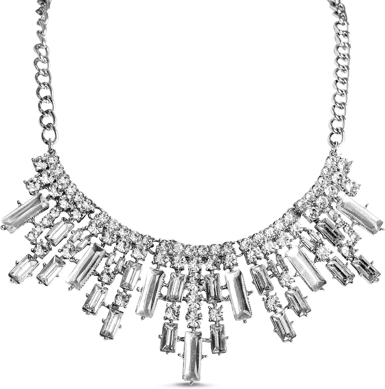 Steve Madden Round Baguette Bib Rhinestone Statement Necklace for Women
