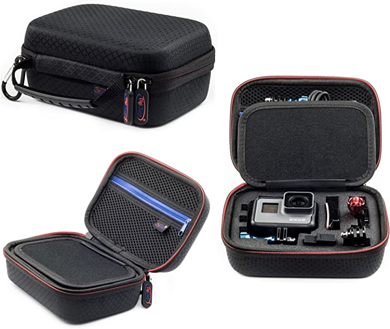 Digicharge Estuche De Transporte para Cámaras Deportivas Gopro Garmin VIRB Apeman Sony Xiaomi Yi Camkong Motorola Victure Kitvision Akaso Nikon (17x13x7cm)