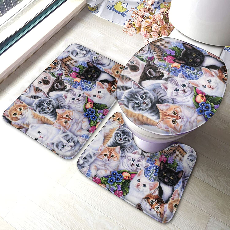 Max 82% OFF Cat and Flower Bathroom Antiskid 3 Bath Sale special price Set Piece Pads