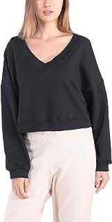 Cropped Sudaderas con Cuello en V Mujer Moda Sexy Vintage Negro Pullover Jersey Sweatshirt Crop Top Ropa Oversize