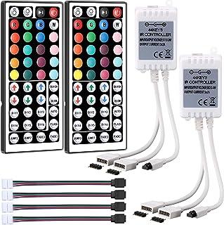 2 Set 2 Porte 44 Tasti Controllo Remoto IR Senza Fili Oscuratore Doppio 4 Pin Controllore Remoto Uscita con 4 LED RGB Conn...