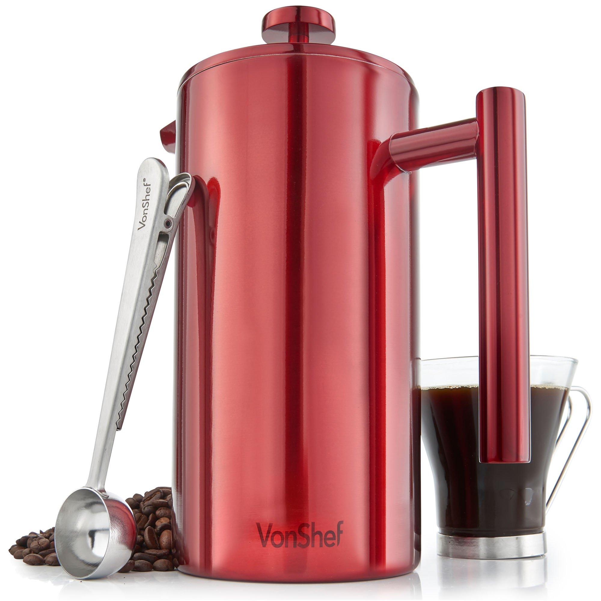 Cafetera de 12 Tazas VonShef en Acero Inoxidable Pulido Rojo de Doble Pared y Filtro – incluye Cuchara Medidora y Pinza de Sellado de Bolsa: Amazon.es: Hogar