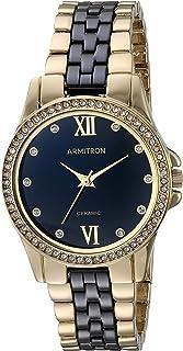 ساعة ارمترون للنساء بسوار من السيراميك الذهبي والاسود - 75/5715BKGP
