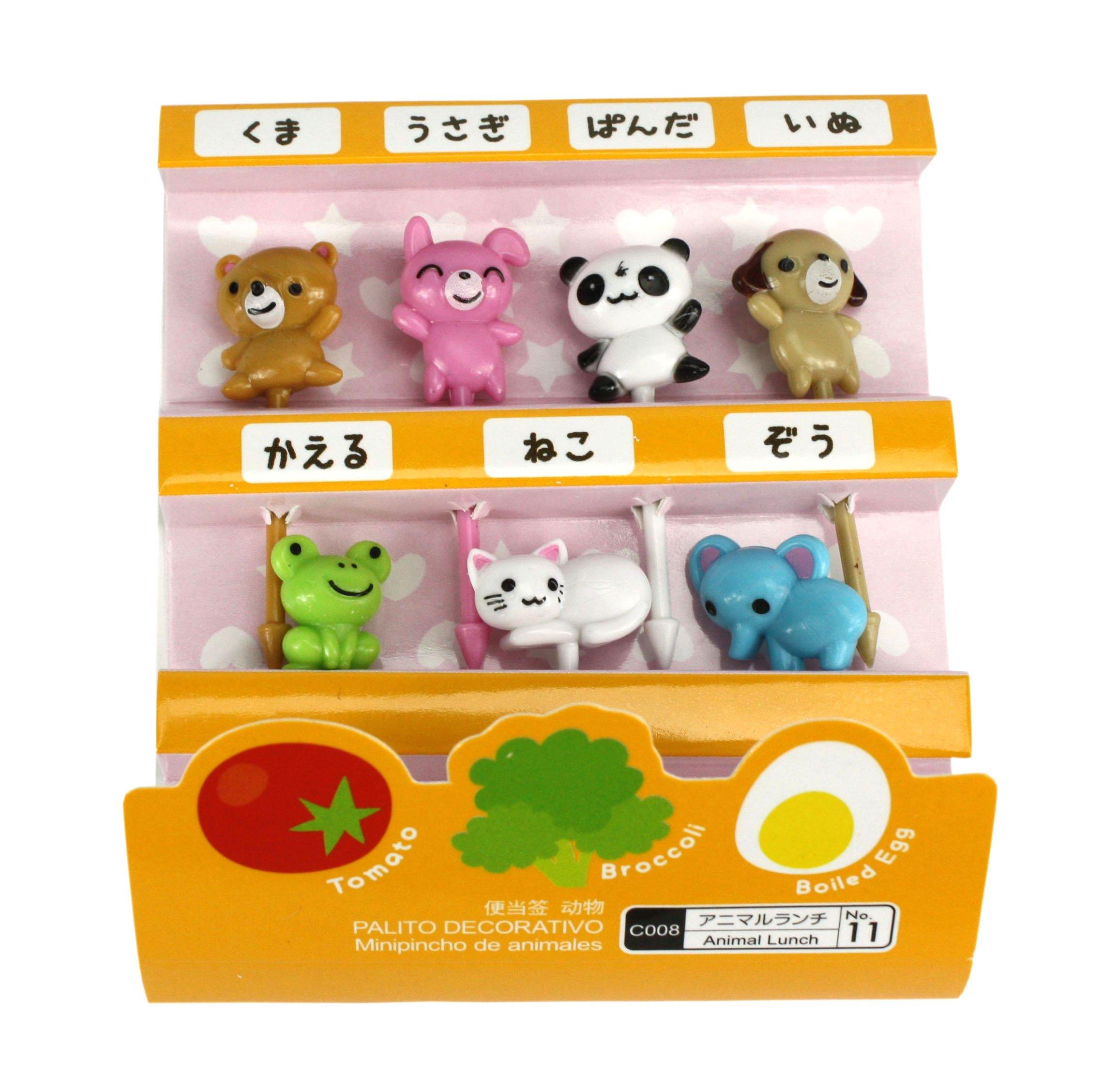 Cute japonés palillos para aperitivos para niños caja de Bento almuerzo – diseños de animales: Amazon.es: Hogar