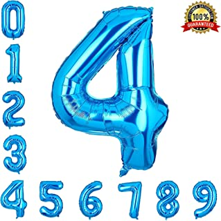 40 Inch Number Balloons Blue Number 4 Helium Foil Birthday Party Decorations Digit Balloons
