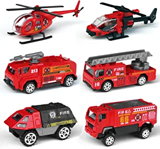 Tianmei 6 Cars in 1 Set Fire Rescue styling 1:87 Alloy Diecast Vehicle Models Collection Kids Toy, Fire Truck Helicopter Jeep Ambulance Car (6pieces - Fire Fighting)