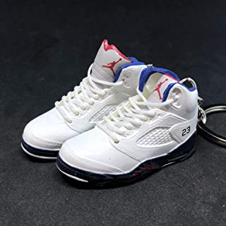 Pair Air Jordan V 5 Retro Fire Red White Independence Day OG Sneakers Shoes 3D Keychain 1:6 Figure