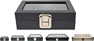 Novel Box Small Glass Top Black Leatherette Metal Clasp Jewelry Display Case 6X3.75X2