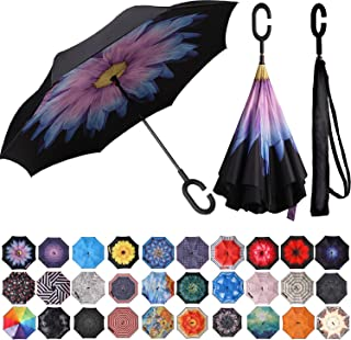 BAGAIL Double Layer Inverted Umbrella Reverse Folding Umbrellas Windproof UV Protection..