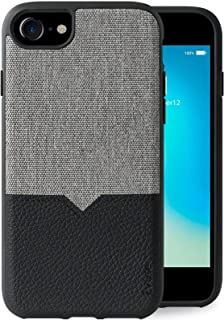 Evutec Compatible with iPhone 6/6s/7/8 Unique Heavy Duty Case Premium Leather + TPU Shockproof Interior Slim Protective phone cover-Canvas/Black (AFIX+ Magnetic Mount Included)