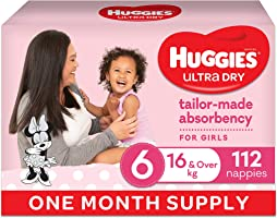 Huggies Ultra Dry Nappies Girl Size 6 (16kg+) 1 Month Supply 112 Count