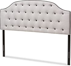 Baxton Studio Elaine Scalloped Buttoned Queen Size Greyish Beige Fabric Upholstered Headboard