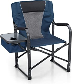 ALPHA CAMP Director Chair Folding Camping Chair with Side Table Heavy Duty Portable Chair with Cup Holder Cooler Bag Alumi...
