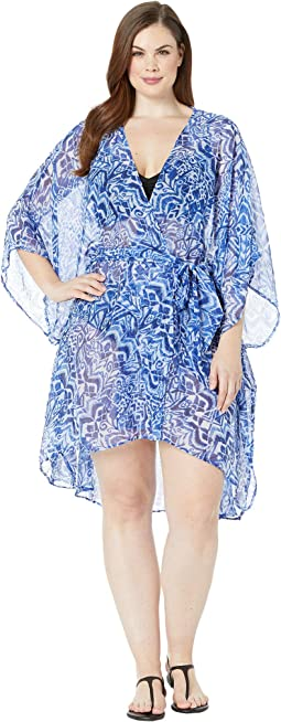 Plus Size Bias Tribal Ikat Belted Wrap Cover-Up