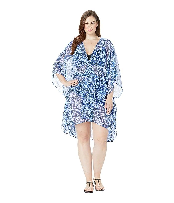 LAUREN Ralph Lauren Plus Size Bias Tribal Ikat Belted Wrap Cover-Up (Blue) Women
