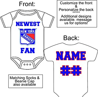 Personalized Custom Made Newest Rangers Fan Hockey Gerber Onesie Jersey - Baby Announcement Reveal or Shower Gift