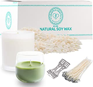 Hearts and Crafts Soy Wax and DIY Candle Making Supplies   10lb Bag with 100 6-Inch Pre-Waxed Wicks, 2 Centering Devices