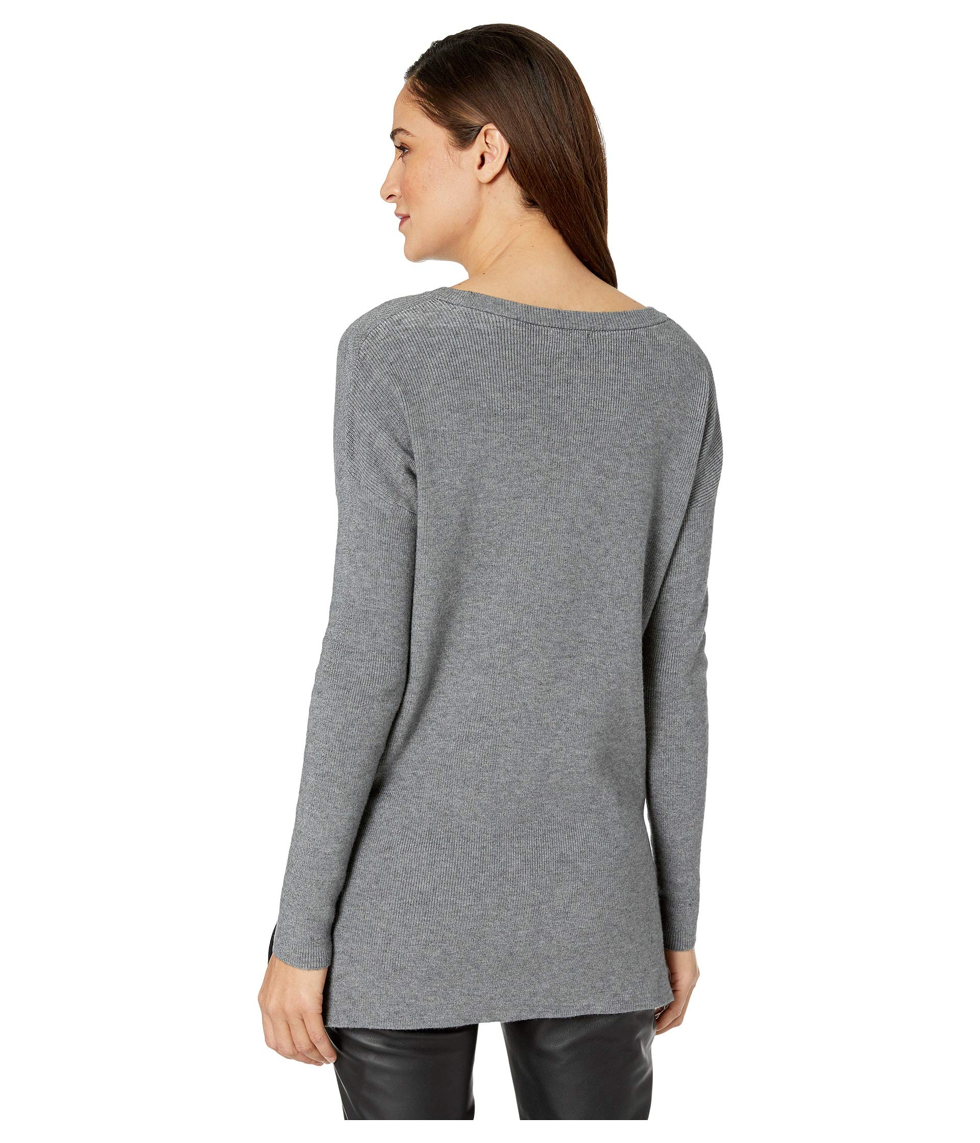 Fuzzy Blend Ks1k5930 Kensie Steel Viscose Sweatshirt Heather 08wEAdx