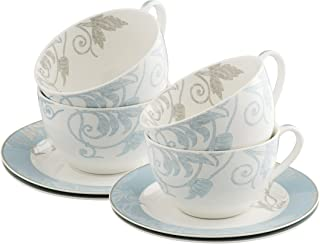 Belleek Novello Teacup & Saucer (Set of 4), Duck Egg