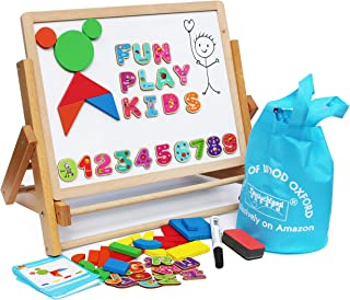 Toys of Wood Oxford Caballete de Madera para niños, Plegable, Doble tableros magnéticos, Formas magnéticas, números y Rollo de Papel, Caballete de Arte para niños, Mesa Superior magnética para niños