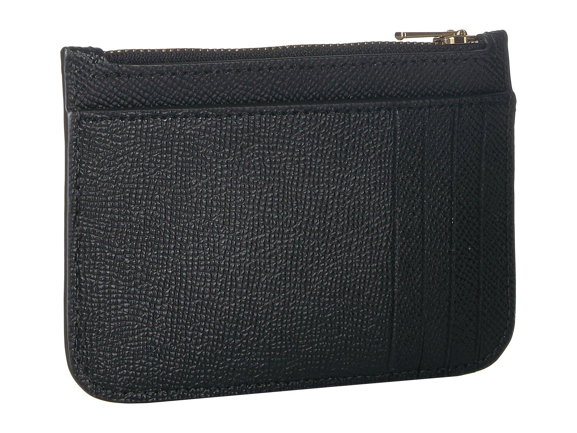 black Leather Li Coach Crossgrain Card In Zip Case c1BwvO0TH