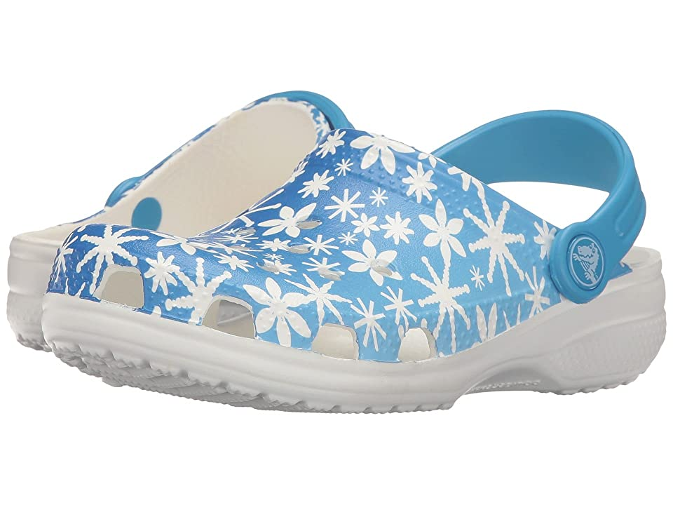 Crocs Kids Classic Snowflake Clog (Toddler/Little Kid) (Ice Blue) Kids Shoes