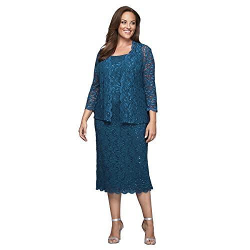 7a3c7601191 Alex Evenings Women s Plus Size Tea Length Lace Dress and Jacket