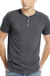 Men's Henley Short Sleeve 3 Button T Shirts for Men