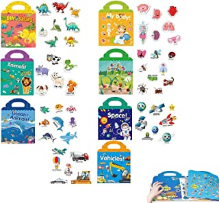 7Pcs Reusable Static Sticker Books Cute Window Clings for Kids, Children's Activity Books with Stickers, Waterproof Sticke...