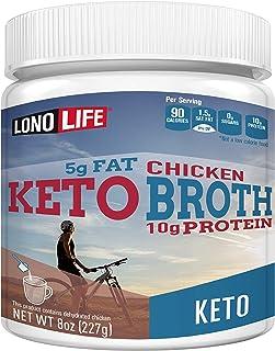 LonoLife Keto Chicken Bone Broth, 5g Fat, 10g Protein, Paleo and Keto Friendly, 8oz Bulk Container, 12 Servings