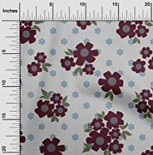 oneOone Velvet Maroon Fabric Floral & Geometric Sewing Fabric by The Yard Printed DIY Clothing Sewing Supplies 58 Inch Wide
